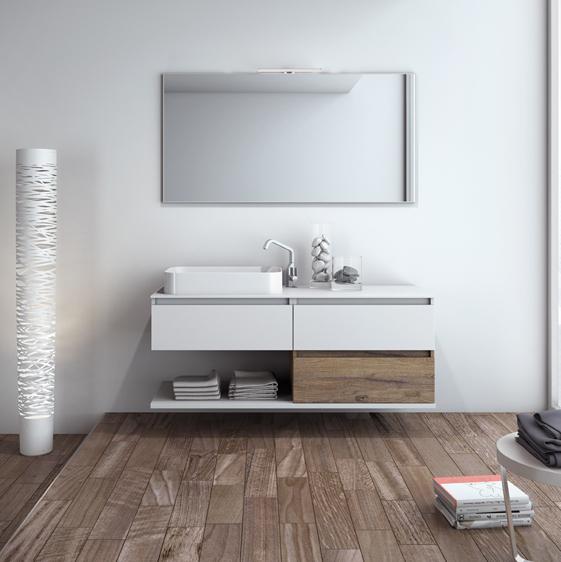 mobile bagno sospeso completo di specchio cm 140