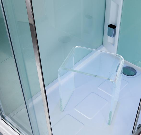 sgabello per doccia in plexiglass