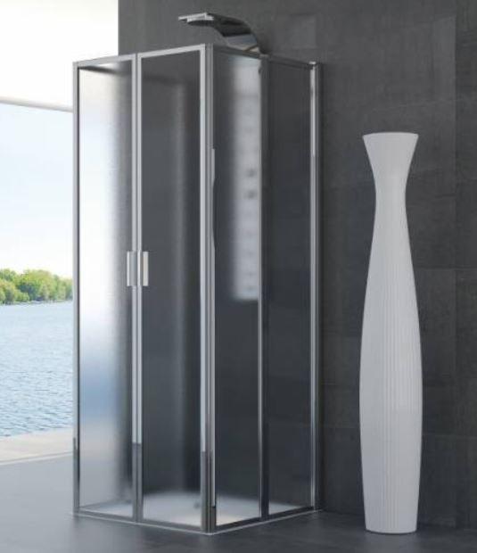 Box doccia a scomparsa con 3 lati pieghevoli a libro ginevra 3xp 85x85 - Siliconare box doccia interno o esterno ...