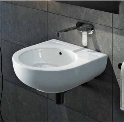 Lavabo appoggio sospeso bianco pass flaminia 35x39 misure piccole - Misure lavandino bagno ...