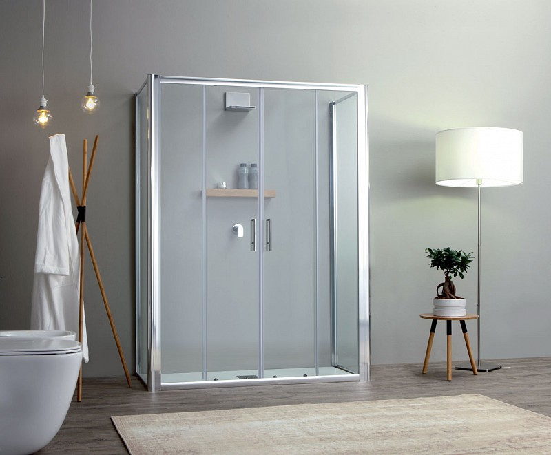 Box doccia porta scorrevole apertura 2 ante centrali cm 160 - Doccia senza porta ...