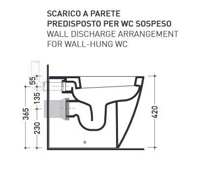 Kit per scarico per sostituzione wc sospeso con wc a terra for Scarico wc a parete